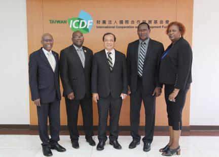 Minister Montoute, Minister Estephane, and Mrs. Montoute with Dr. Lee Pai-po, Deputy Secretary General of TaiwanICDF and Mr. Edwin Laurent, Ambassador of Saint Lucia to the Republic of China