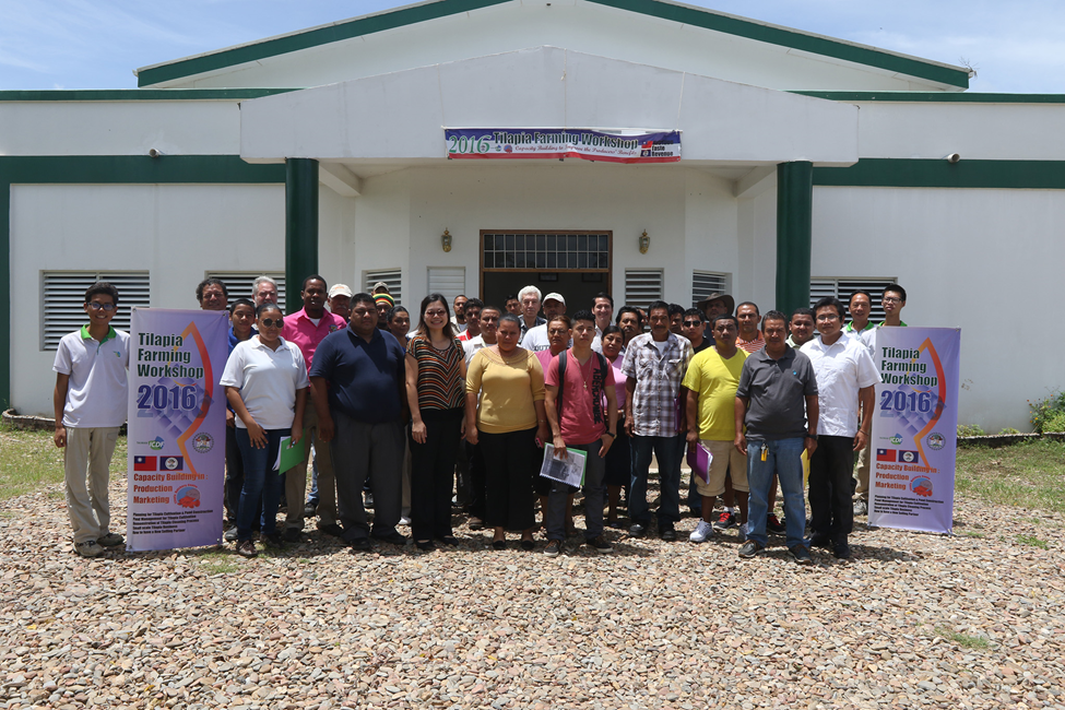 Group photo of participants including tilapia producers , University students, the Government extension officers and other Belizean citizens