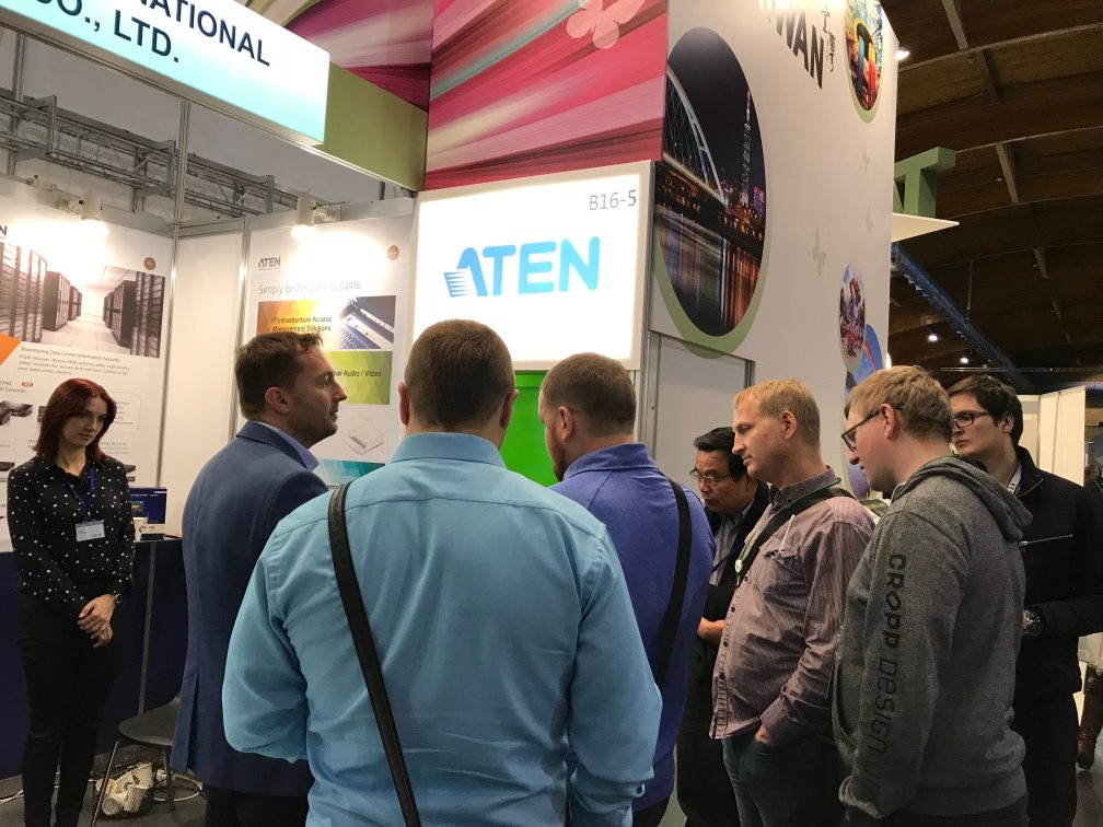 Attendees at RIGA COMM 2017 are introduced to ATEN, one of the Taiwanese companies represented at the Taiwan Pavilion