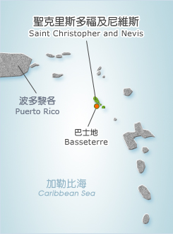 The Federation of Saint Christopher and Nevis Map